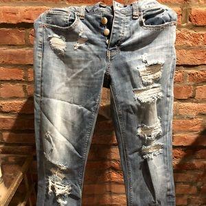 American Eagle super stretch destroyed jeans